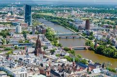 Huvudsaklig flod, Frankfurt, Tyskland Arkivfoton