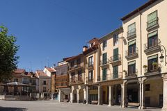 Huvudsaklig fyrkant av Aranda de Duero, Burgos landskap, Spanien royaltyfri fotografi
