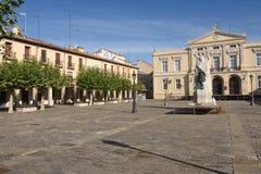 Huvudsaklig fyrkant av Palencia, Castilla y Leon, Spanien arkivfoto