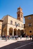 Huvudsaklig fyrkant av Pienza - Tuscany Italien royaltyfri foto