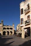 Huvudsaklig fyrkant av Plasencia, Caceres landskap, Arkivfoto
