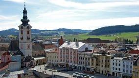 Huvudsaklig fyrkant av staden Freistadt royaltyfri fotografi