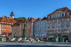 Huvudsaklig fyrkant, Graz, Österrike arkivbilder