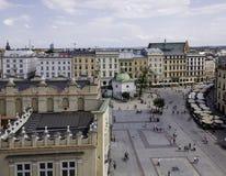 Huvudsaklig fyrkant - historisk mitt av Krakow Arkivbild