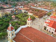 Huvudsaklig fyrkant i Granada Nicaragua royaltyfria foton