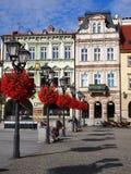 Huvudsaklig fyrkant i historiskt centrum av Bielsko-Biala i Polen Royaltyfri Bild
