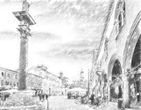 Huvudsaklig fyrkant i Ravenna i Italien vektor illustrationer