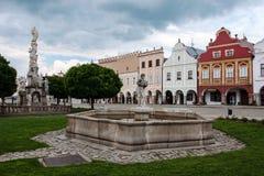 Huvudsaklig fyrkant i Telc, UNESCOstad i Tjeckien Royaltyfri Foto