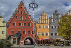Huvudsaklig fyrkant i Weiden i der Oberpfalz, Tyskland Royaltyfria Bilder