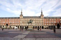 Huvudsaklig fyrkant, Madrid, Spanien fotografering för bildbyråer