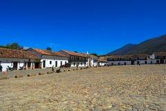 Huvudsaklig fyrkant Villa de Leyva Boyaca Arkivbild