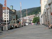 Huvudsaklig gata i Bergen Fotografering för Bildbyråer