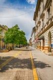 Huvudsaklig gata i den Subotica staden, Serbien Fotografering för Bildbyråer