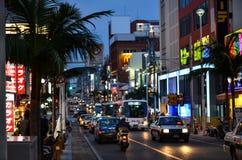 Huvudsaklig gata, Naha City, Okinawa Royaltyfri Foto