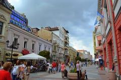 Huvudsaklig gata Plovdiv Arkivfoto