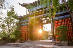 Huvudsaklig ingång av Shuhe den forntida staden, Lijiang Kina Royaltyfria Foton