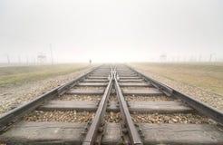 Huvudsaklig ingång till Auschwitz Birkenau Royaltyfria Bilder