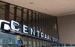 Huvudsaklig ingång till den Rotterdam centralstationen, Nederländerna Royaltyfria Foton