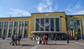 Huvudsaklig järnvägsstation av Bruges, Belgien royaltyfri bild