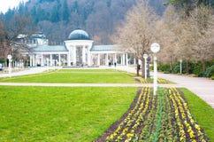 Huvudsaklig kolonnad i Marianske Lazne, Marienbad Fotografering för Bildbyråer