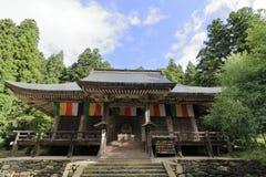 Huvudsaklig korridor av den Risshaku jien Yamadera arkivbild