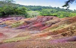 Huvudsaklig sikt av Mauritius Chamarel- sju färgländer Royaltyfri Bild