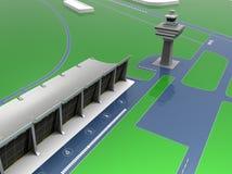 Huvudsaklig slutlig illustration för flygplats Arkivfoton