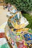 Huvudsaklig terrass på Parc Guell i Barcelona, Spanien Royaltyfri Bild