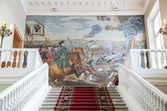 Huvudsaklig trappuppgång av akademin av vetenskaper, St Petersburg arkivbild