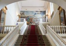 Huvudsaklig trappuppgång av akademin av vetenskaper, St Petersburg arkivfoton