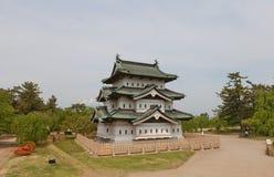 Huvudsaklig uppehälledonjon av den Hirosaki slotten, Hirosaki stad, Japan Royaltyfri Bild