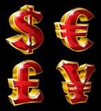 Huvudsakliga valutasymboler royaltyfri illustrationer