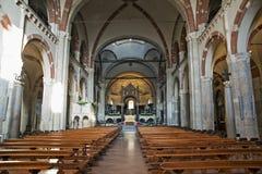 Huvudsakligt skepp av basilikan av Sant Ambrogio Royaltyfria Foton