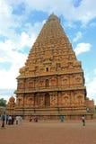 Huvudsakligt torn av den stora templet, Thanjavur, Tamilnadu, Indien Arkivfoto