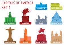 Huvudstäder av Amerika royaltyfri illustrationer