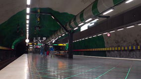 Huvudsta. Metro station. Art in the subway. Stockholm. Sweden. stock video footage