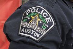 Huvudstad av Texas Austin Police Badge arkivbild