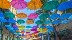 Huvudstad för Port Louis le caudan strandparaplyer av Mauritius Royaltyfria Bilder