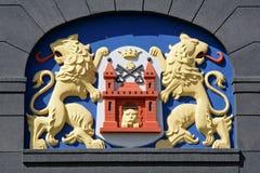 Huvudstad för republik för Riga emblem latvian arkivbild