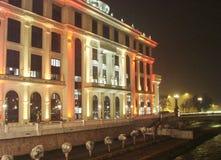 Huvudstaden av Makedonien Skopje på julafton arkivfoto