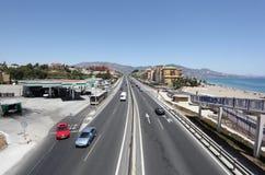 Huvudväg A7 i Fuengirola, Spanien Arkivbilder