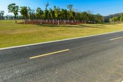 Huvudväg bredvid trän Arkivbilder