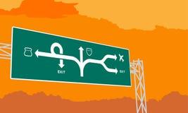 Huvudväg- eller motorwaygräsplansignage i surise, solnedgångtid stock illustrationer