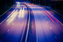 Huvudväg på natten Royaltyfri Fotografi