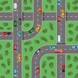 Huvudvägar för bästa sikt för vektor med bilar och med träd in - mellan illustrationen för bästa sikt Arkivfoton