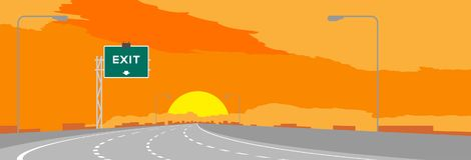 Huvudvägen eller motorwayen och gräsplansignagen med utgången undertecknar in surise, solnedgångtidillustration vektor illustrationer