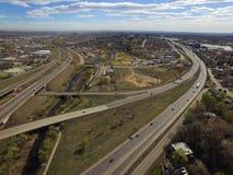 HuvudvägI70 och I76 utbyte, Arvada, Colorado Arkivbilder