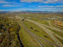 HuvudvägI70 och I76 utbyte, Arvada, Colorado Arkivfoton