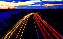 huvudvägsolnedgång Royaltyfri Foto
