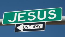 Huvudvägtecken för JESUS och EN VÄG fotografering för bildbyråer